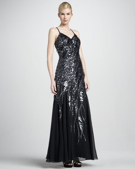 Beaded Spaghetti-Strap Gown