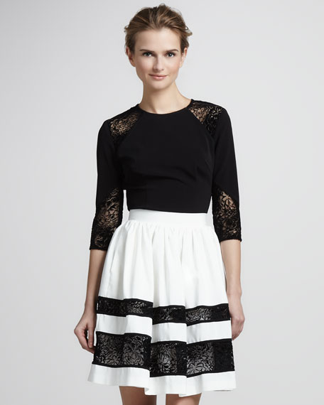 High-Waist Faille Skirt, Ivory/Black
