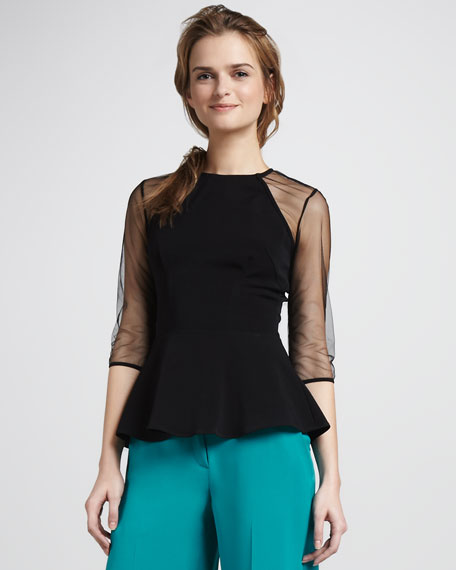 Sheer-Sleeve Peplum Top