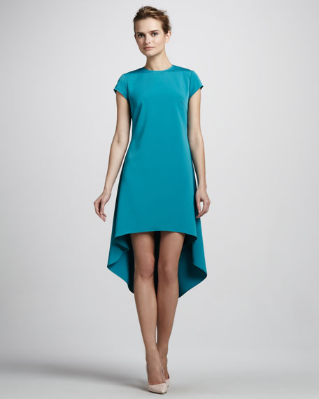 Cap-Sleeve High-Low Dress, Teal