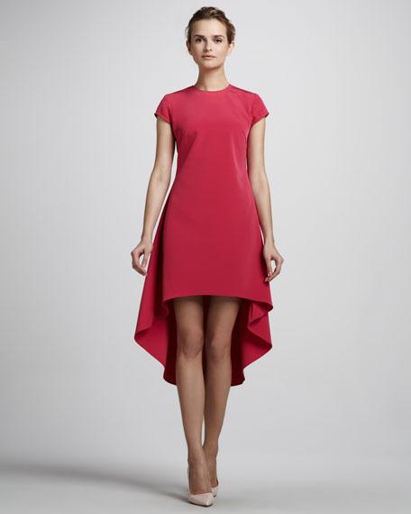 Cap-Sleeve High-Low Dress, Berry