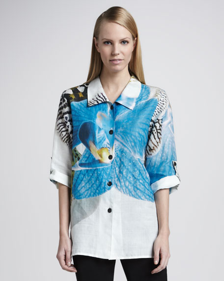 Tropical Orchid Ramie Shirt