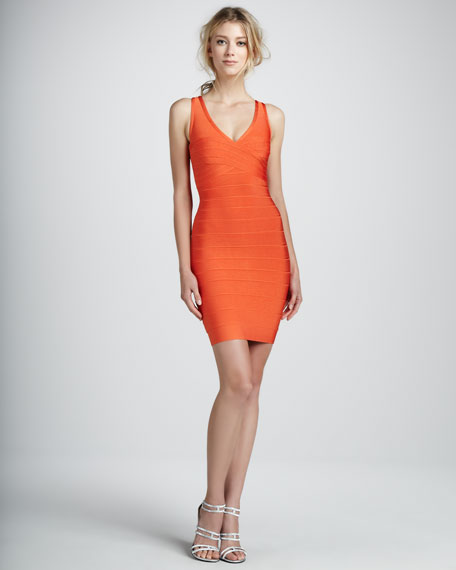 V-Neck Racerback Bandage Dress, Orange