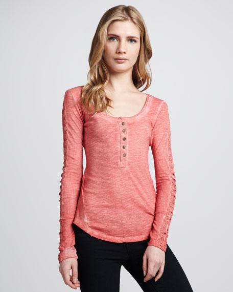 Embroidered-Sleeve Melange Henley