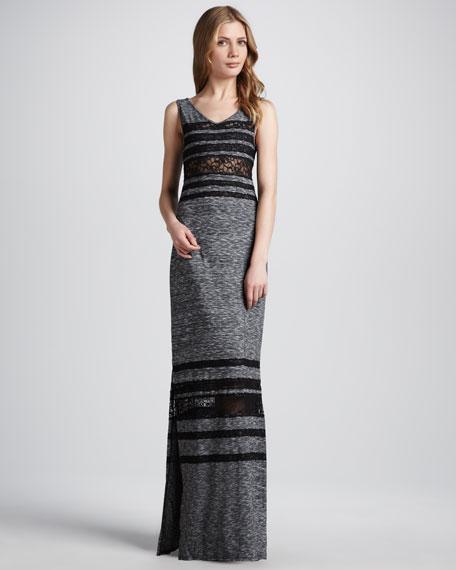Hazy Daze Lace-Stripe Maxi Dress
