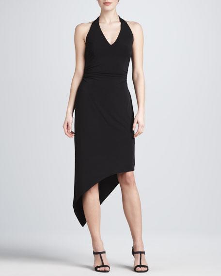 Asymmetric Hem Halter Dress