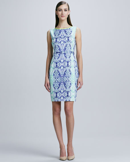Beverly Damask-Print Sheath Dress