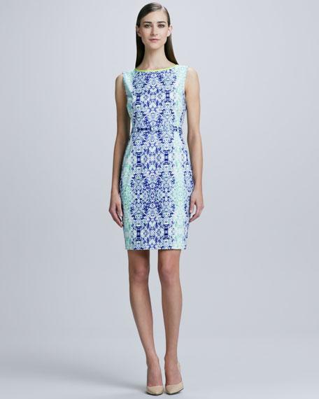 Beverly Damask-Print Sheath Dress