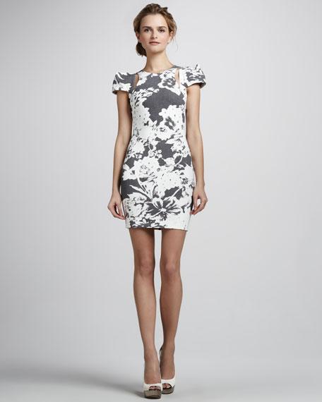 Printed Square-Shoulder Dress