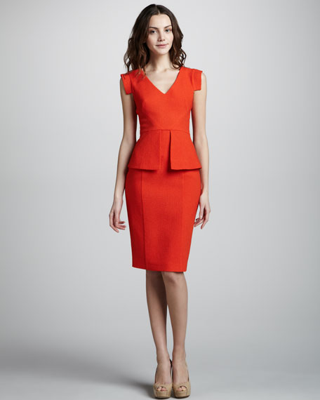 Keyton Peplum Dress, Orange