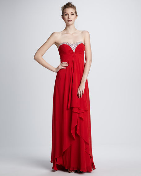 Beaded Strapless Chiffon Sweetheart Gown
