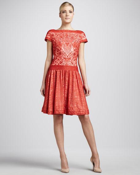 Cap-Sleeve Lace Cocktail Dress
