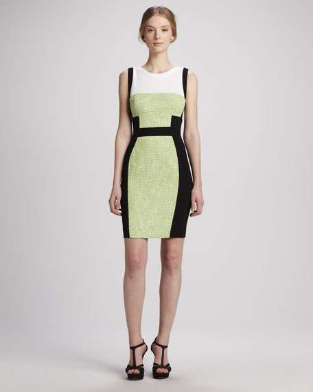 Sleeveless Colorblock Tweed Dress