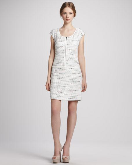 Printed Cap-Sleeve Zip Dress