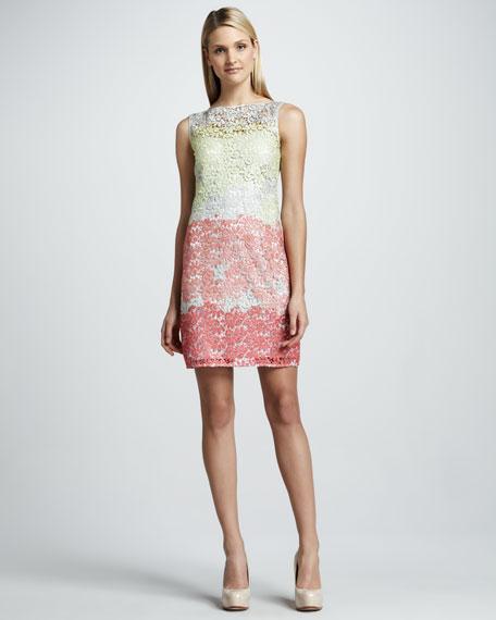 Colorblock Metallic Lace Cocktail Dress
