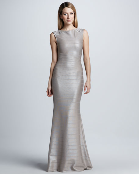 Illusion-Shoulder Bandage Gown