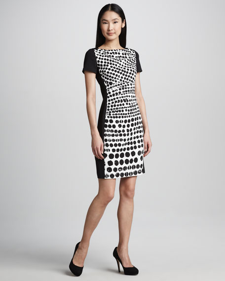 Printed-Front Short-Sleeve Dress