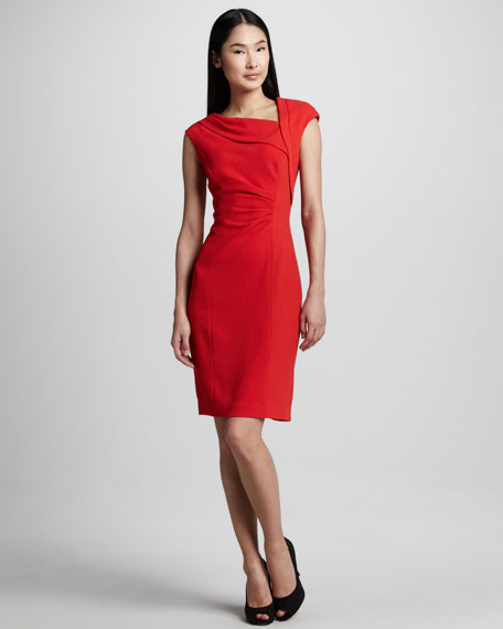 Cap-Sleeve Asymmetric Fitted Dress