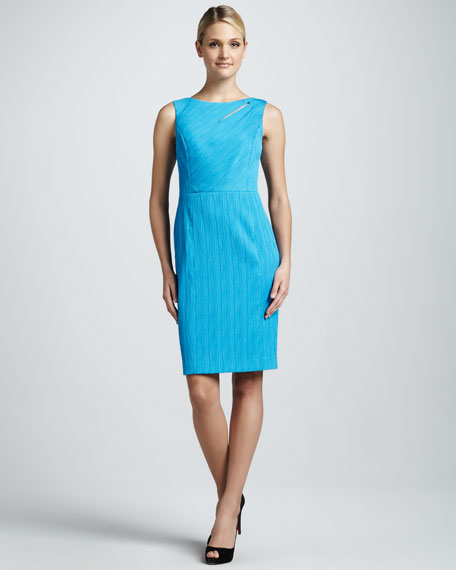 Sleeveless Cutout-Neck Textured Sheath Dress