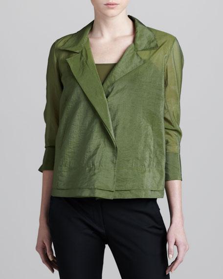 Notch-Collar Linen-Blend Blouse, Fern