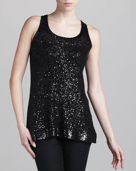 Sequined Sleeveless Tunic, Black