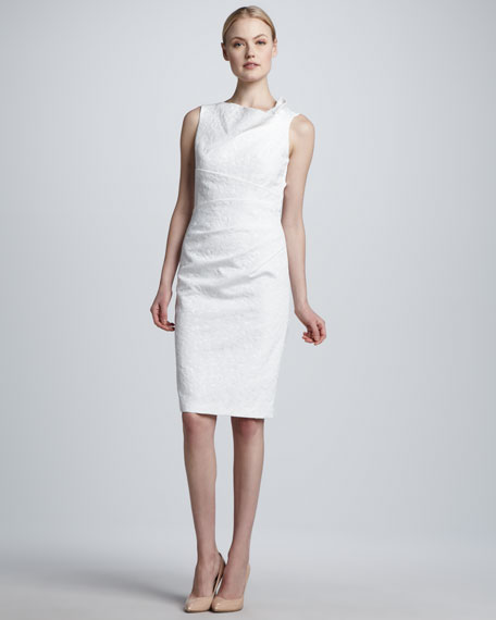 Sleeveless Asymmetric-Neck Sheath Dress