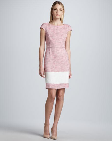 Cap-Sleeve Contrast-Stripe Tweed Dress