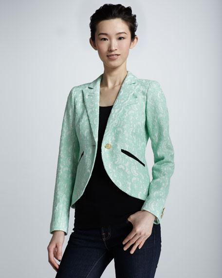 Lace Cutaway Blazer, Mint