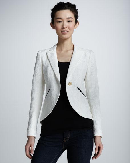 Lace Cutaway Blazer, White