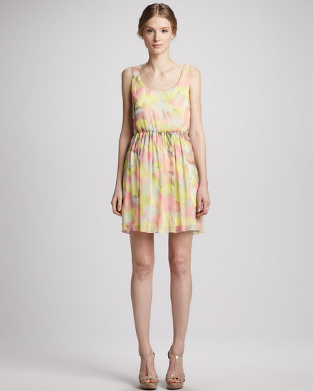 Louise Gathered-Skirt Floral Dress
