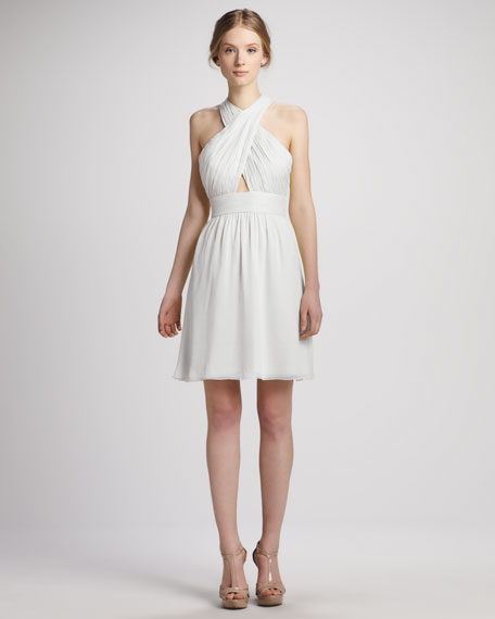 Martine Wrap Tulip Keyhole Dress, White