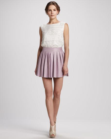 Short Box-Pleat Leather Skirt