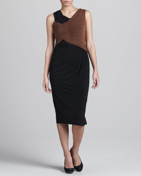 Two-Tone Ruched Dress