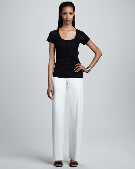 Washable-Crepe Wide-Leg Pants, Bone, Petite