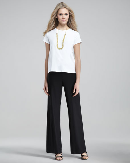 Washable-Crepe Wide-Leg Pants Black, Petite