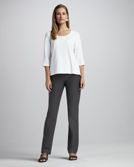 Washable-Crepe Boot-Cut Pants, Petite