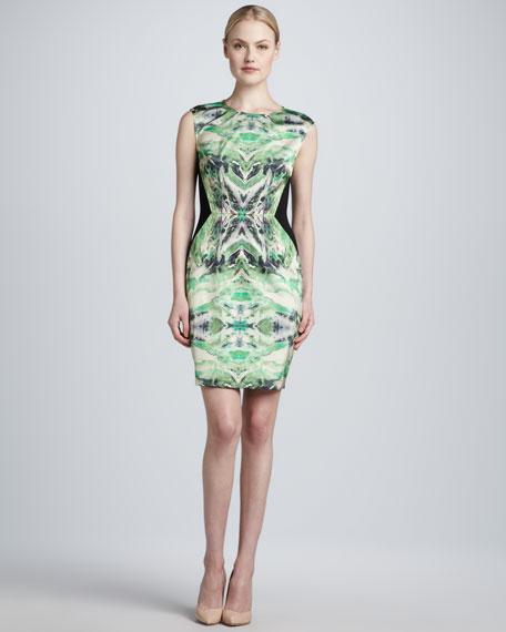 Sleeveless Contrast-Back Sheath Dress