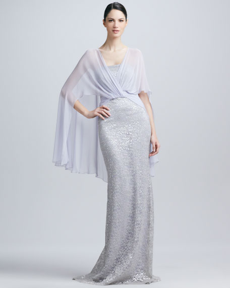 Jersey Cape Strapless Sequined Gown