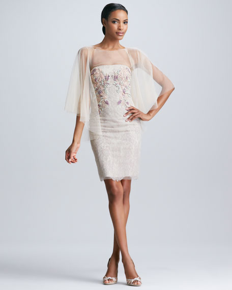 Tulle Cape Strapless Embroidered Cocktail Dress