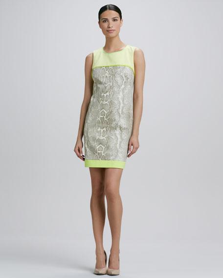 Demitra Snakeskin-Print Sheath Dress