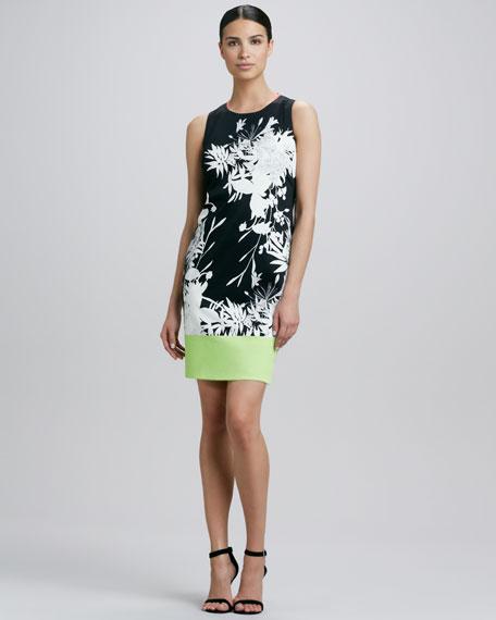 Fran Printed Colorblock-Hem Dress