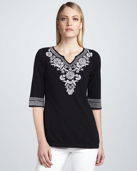 Maddie Embroidered Boho Tunic, Black