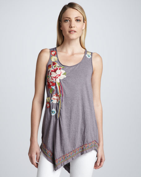 Isla Embroidered Asymmetric Tunic