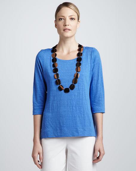 Three-Quarter-Sleeve Modest Linen Tee, Women's