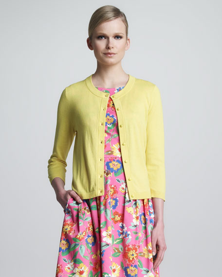 sofia bow-back cardigan, donovan yellow