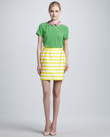 barry striped pencil skirt