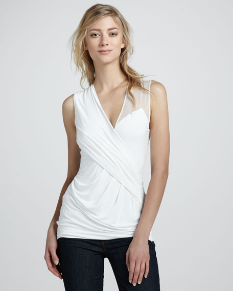Sleeveless Wrap Top With Sheer Detail