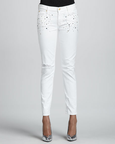 Slim Cigarette Jeans with Crystals, White