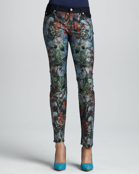 Tropical-Print Slim Cigarette Jeans