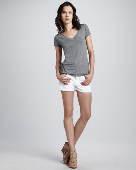 Dot Eyelet Cutoff Shorts